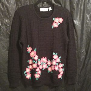 Evan Picone black sweater with stitched flowers